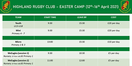 Easter Camp  | 12th - 16th April 2021 | Youth (U13 - U18) tickets