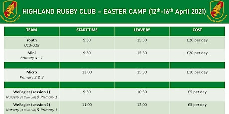 Easter Camp | 12th - 16th April 2021 | WeEagles Session 2 (4 Year old & P1) tickets