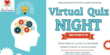 Virtual Pub Quiz - Willing Hearts Singapore Fundraiser tickets