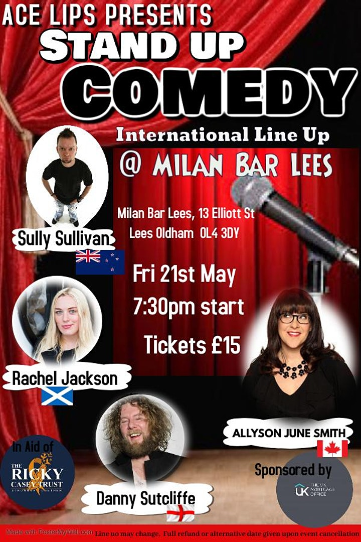 International Stand Up  Comedy Line Up at Milan Bar Lees image