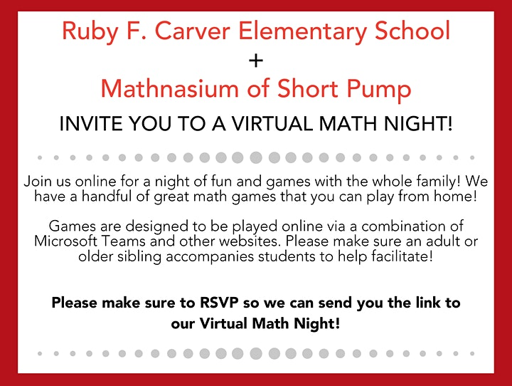 Ruby F. Carver Elementary + Mathnasium of Short Pump Math Night image