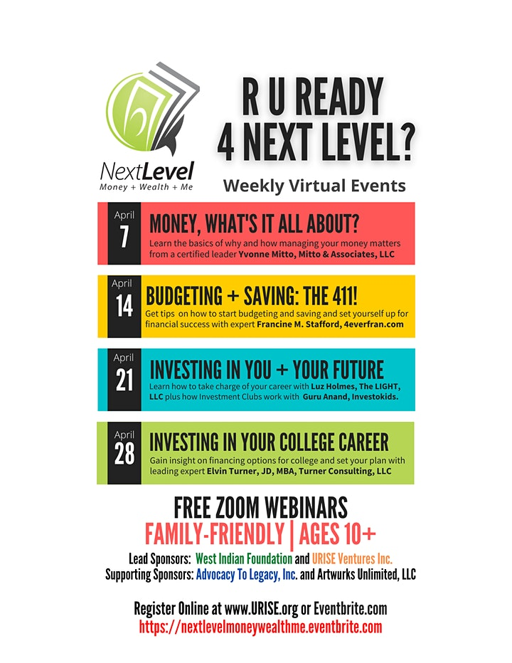 Next Level: Money + Wealth  Webinar Series &  Financial Fair image