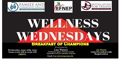 "Wellness Wednesday- ""Breakfast of Champions"" tickets"