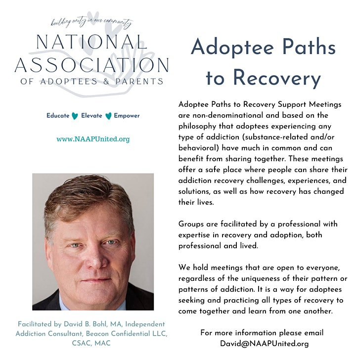 Adoptee Paths to Recovery - Support Group Meeting - August 10, 2021 image