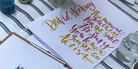 Modern Calligraphy using brush pens with Lettering by the Sea tickets