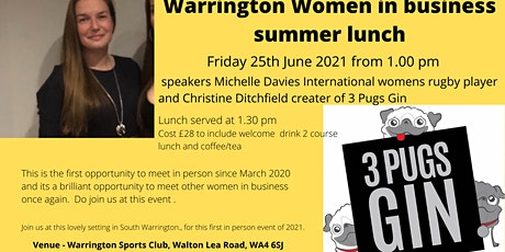 Warrington Women in Business Summer Networking lunch tickets