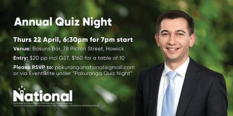 Annual Pakuranga Quiz Night tickets