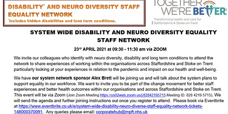 System Wide Disability Neuro Diverse Staff Equality Network tickets