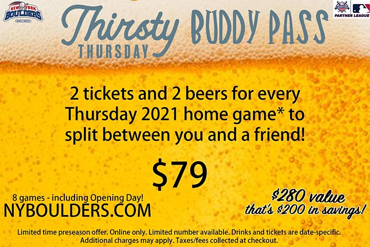 New York Boulders Thirsty Thursday Buddy Pass image