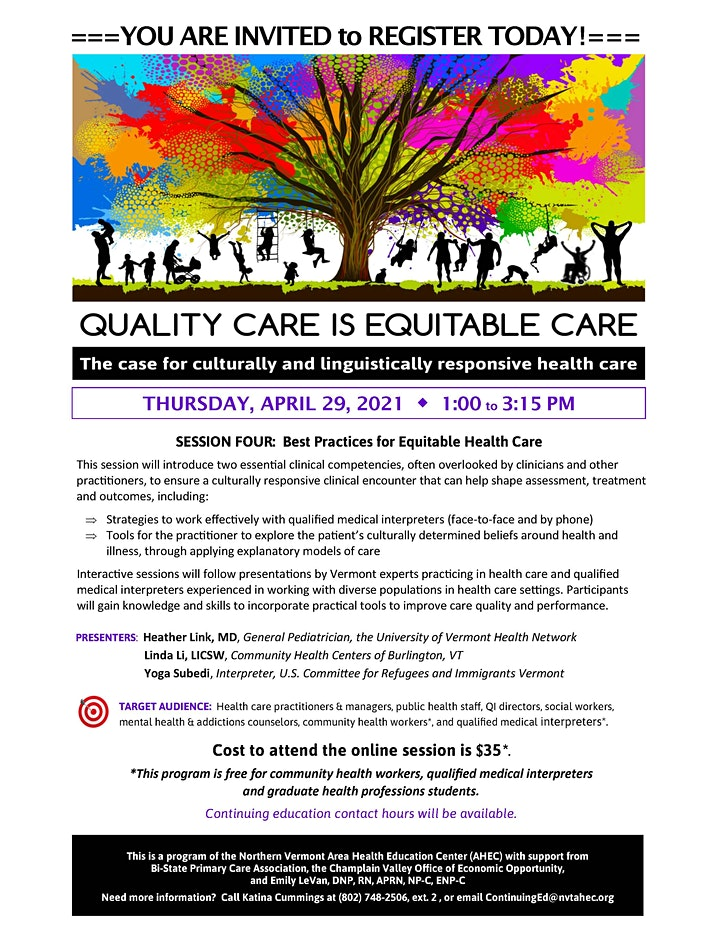 SESSION FOUR:  Best Practices for Equitable Health Care image