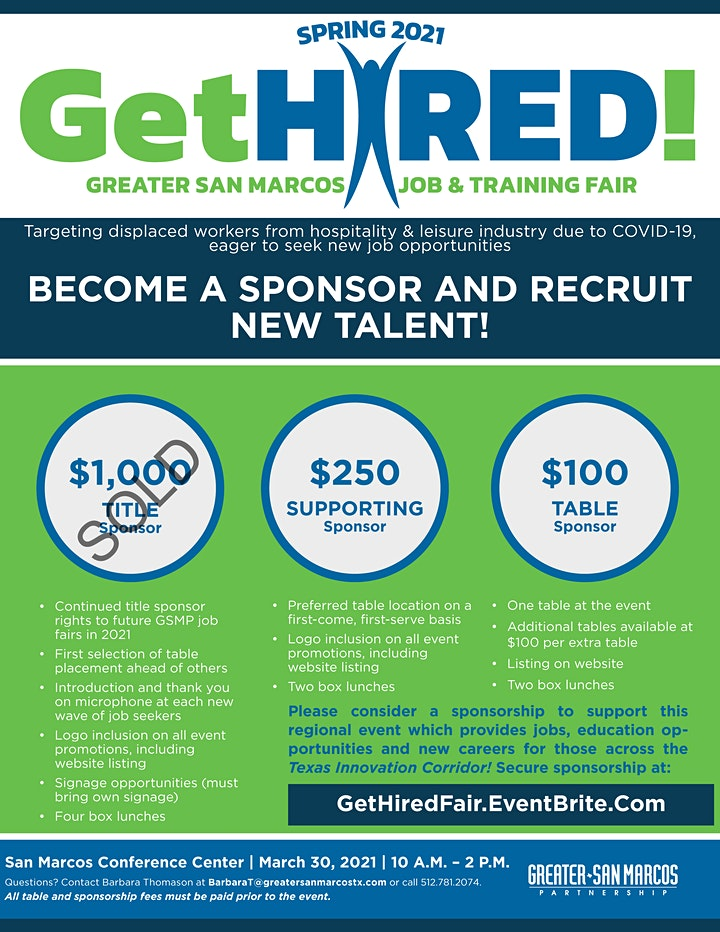 Get Hired! Greater San Marcos Job & Training Fair - For Sponsors image