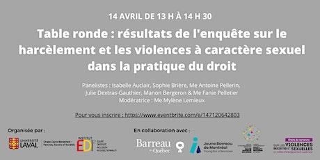 Table-ronde : résultats de l'enquête sur le harcèlement et les violences billets