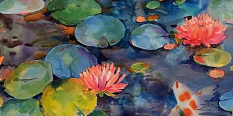 Water lilies and koi fish - watercolor painting workshop tickets