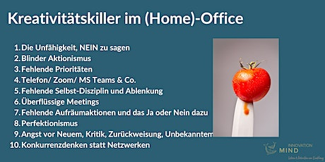 Webinar 10 Kreativitätskiller im (Home)-Office Tickets