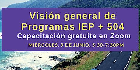 Visión general de Programas IEP + 504 entradas