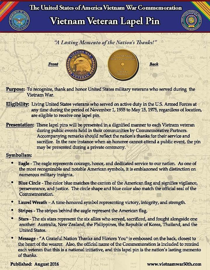 Recognizing Vietnam Veterans with  a Vietnam Veteran Lapel Pins image