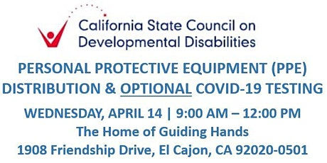 SCDD PPE  & COVID-19 Testing for Families - Home of Guiding Hands, El Cajon tickets