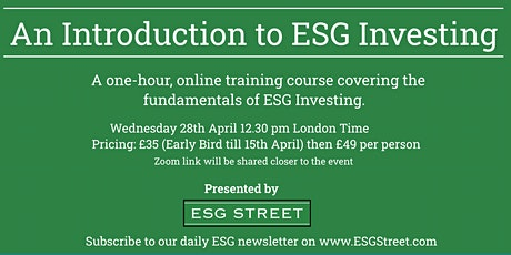 An Introduction to ESG Investing tickets