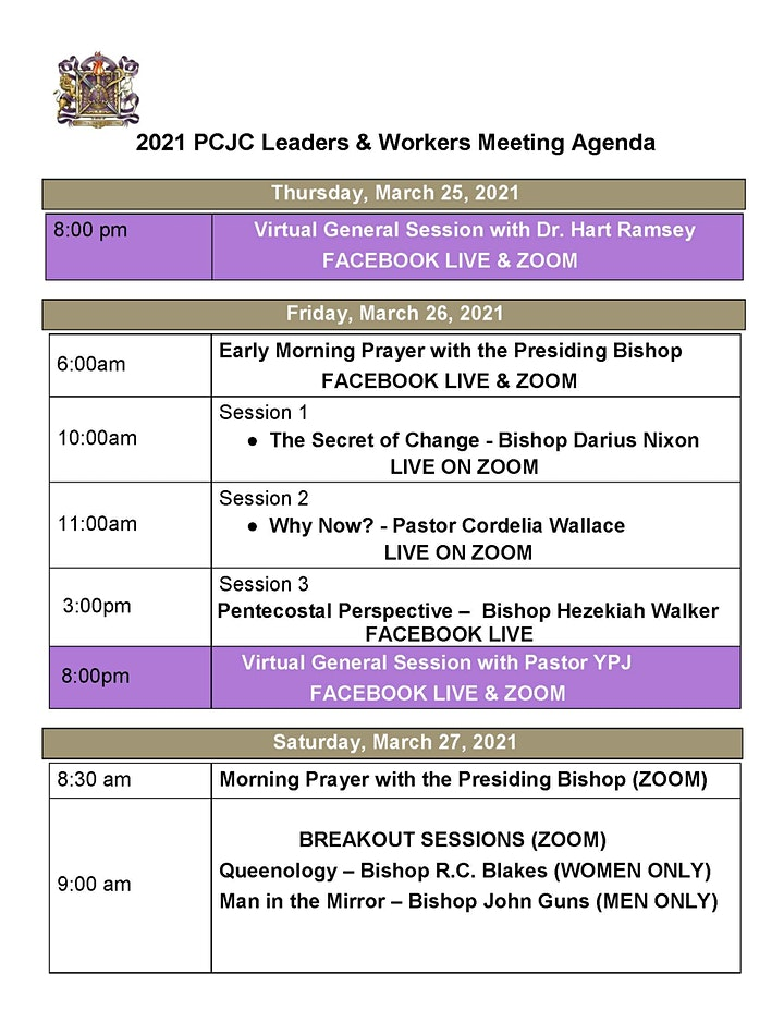 PCJC Leaders & Workers Conference with Bishop Hezekiah Walker image