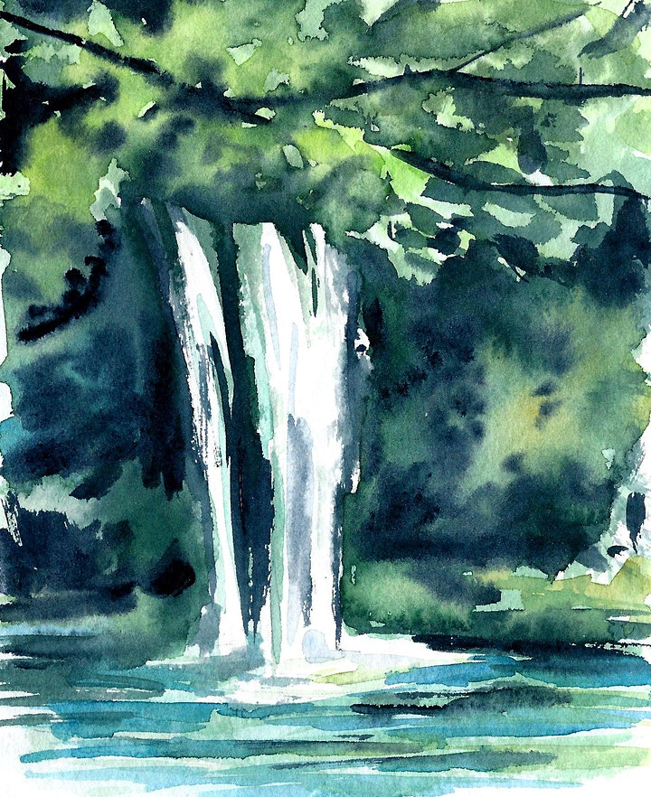 "Aquarellkurs ""Negative Painting Waterfall - Onlinekurs - Kreativ zu Hause: Bild"