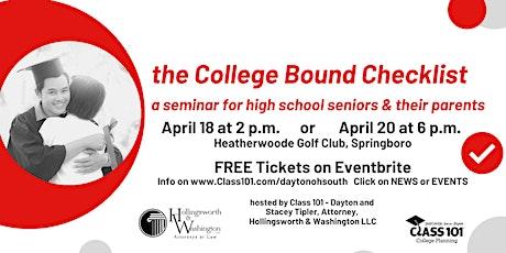 the College Bound Checklist tickets