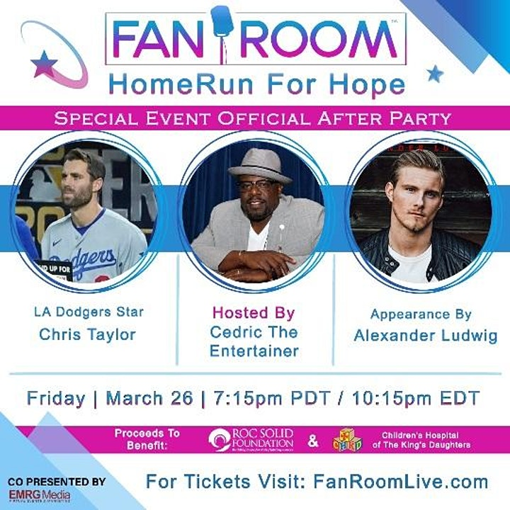 Fundraiser- Cedric The Entertainer LADodgers ChrisTaylor  Alexander Ludwig image