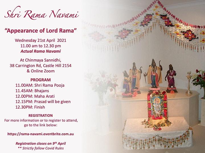 SHRI RAMA NAVAMI POOJA - Wednesday 21 April 2022 (ACTUAL DAY) image