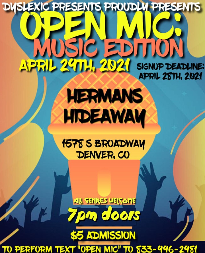 OPEN MIC (MUSIC EDITION) ALL GENRES WELCOME_SIGN-UPS BY 4/28 (SEE DETAILS image