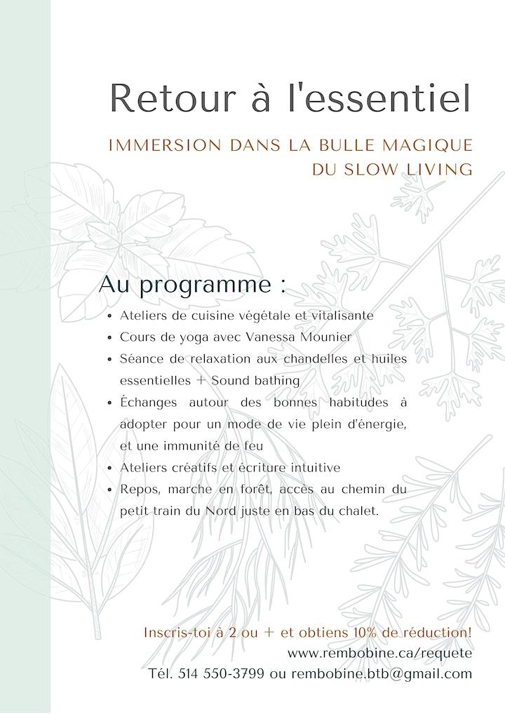Image de Retraite EAT + SLOW 28 au 30 mai 2021 - Couvent Val Morin