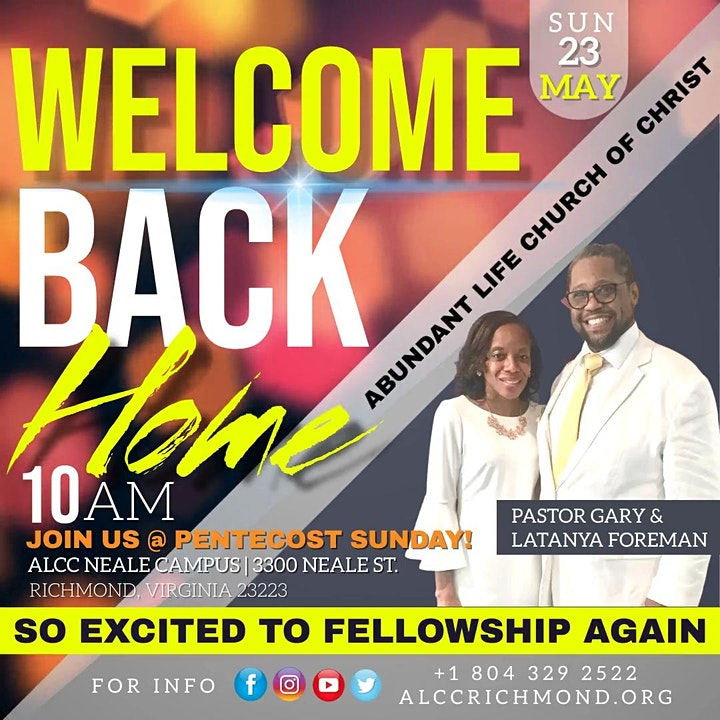 Welcome Back to Church @ Pentecost Sunday at ALCC! image