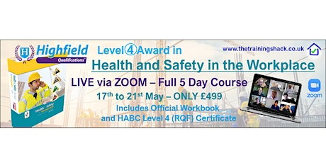 """Highfield Level 4 Award in """"Health and Safety in the Workplace"""" - 5 Days tickets"""