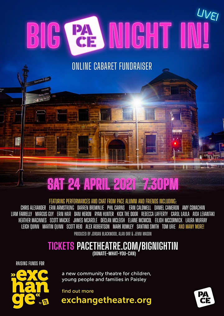 Big PACE Night In - An online cabaret for Exchange Theatre image