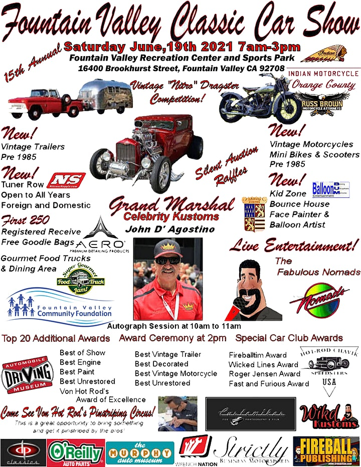 SOLD OUT! NO DAY OF SHOW ENTRIES!  Fountain Valley Classic Car & Truck Show image