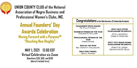 Union County Club's  Annual Founders' Day Awards Celebration tickets