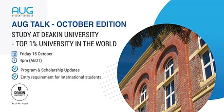[AUG Talk]  Study at Deakin University - Top 1% University in the World tickets