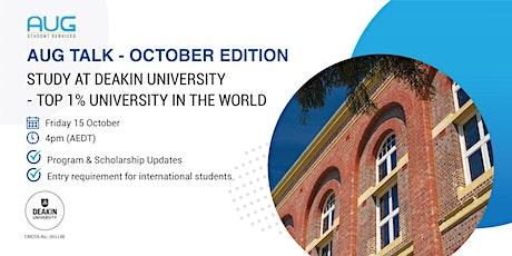 [AUG Talk]  Study at Deakin University - Top 1% University in the World entradas