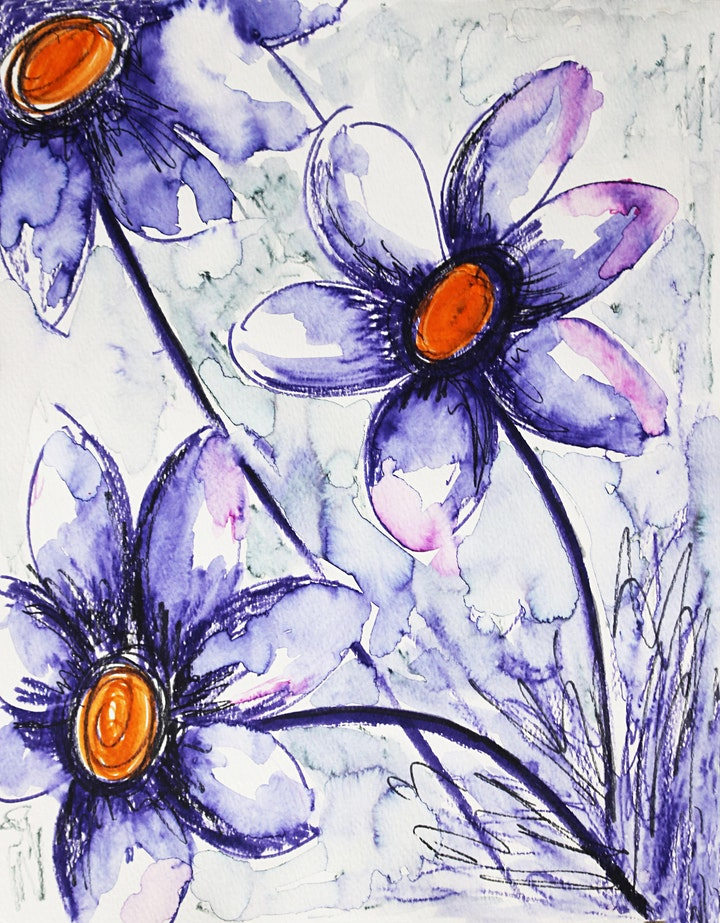 Purple Flowers, Watercolor Art Class for Teens and Adults image