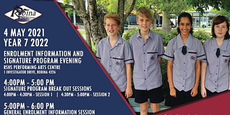 Robina SHS Year 7 2022 Enrolment Information & Signature Program Evening 2 tickets