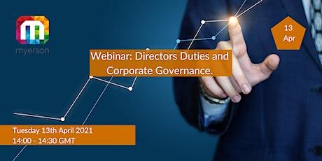 Webinar: Directors Duties and Corporate Governance. Tickets