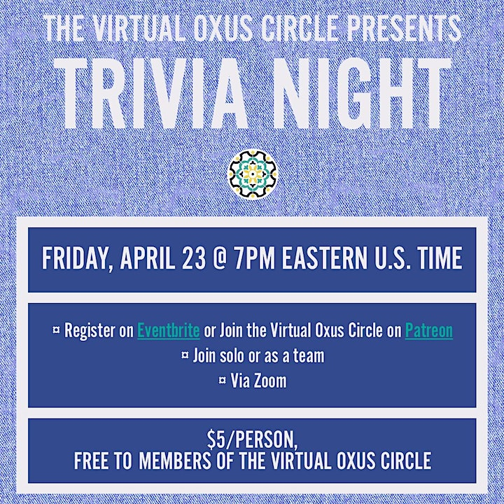 Trivia Night w/ The Oxus Society for Central Asia Affairs image