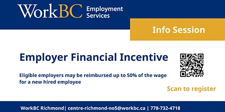 WorkBC Richmond Employer Financial Incentive Info Session tickets
