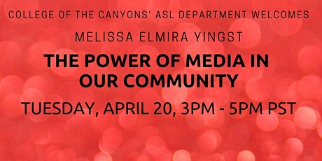 The Power of Media in our Community with Melissa Elmira Yingst tickets