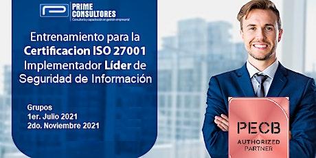 Certificación ISO 27001 Seguridad de Información / In Company - Perú entradas