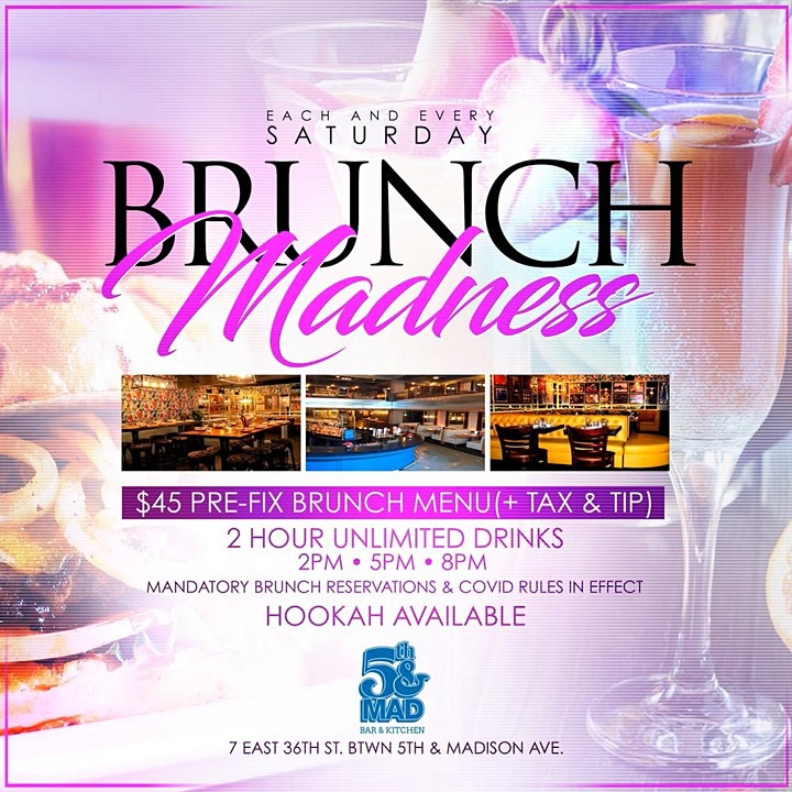 #EverySATURDAY | BRUNCH MADNESS @ 5th&Mad | Hosted by MTA Rocky image