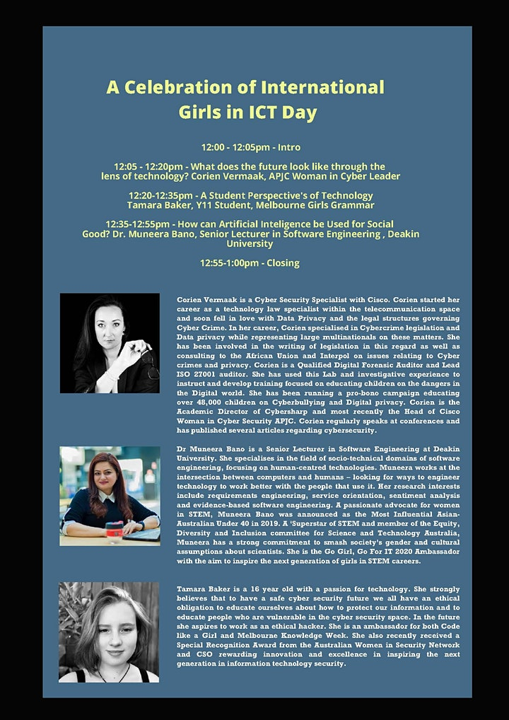 A Celebration of International Girls in ICT Day - 2021 Webinar image
