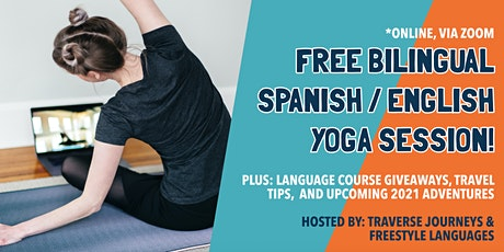 Travel chat, Spanish/English yoga lesson, and Spanish-learning sessions! tickets