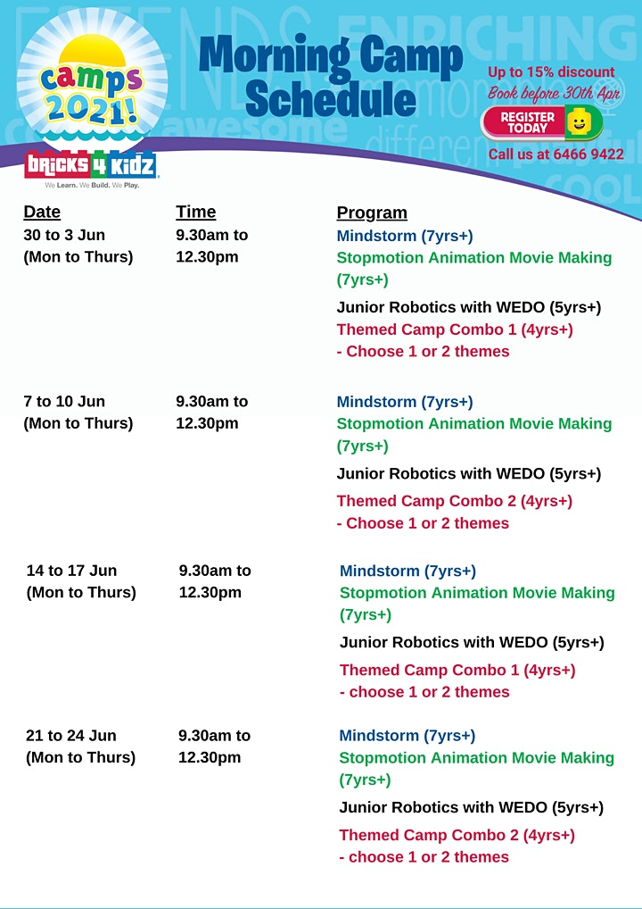 2021 Mid-Year School Holiday Workshops - Bricks4kidz@The Grandstand image
