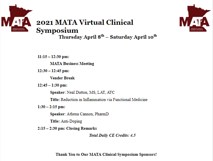 2021 MATA Annual Meeting & Clinical Symposium Post-Symposium Registration image