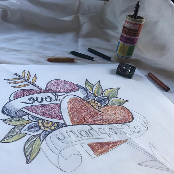 Tattoo inspired FABRIC Transfer print workshop with Stephany image