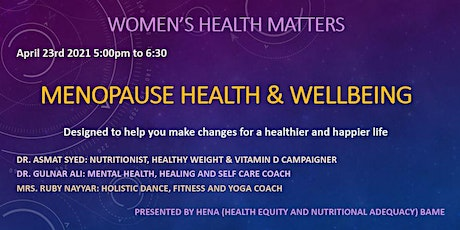 Women's Health and Wellbeing Workshop - Menopause Health  and Wellbeing tickets